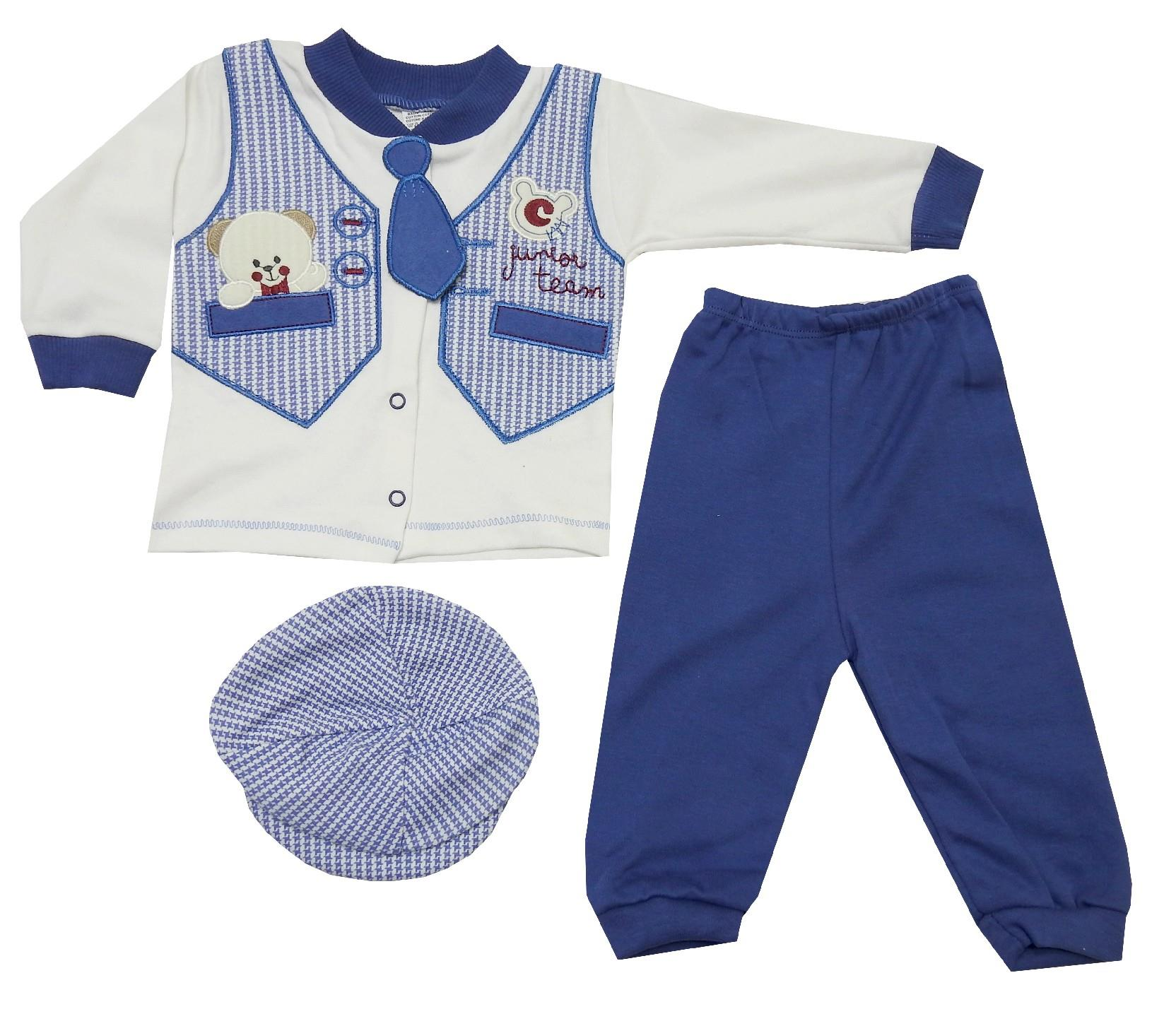Wholesale bear print sweat, beanie and trouser triple set for boy (3-6 month)