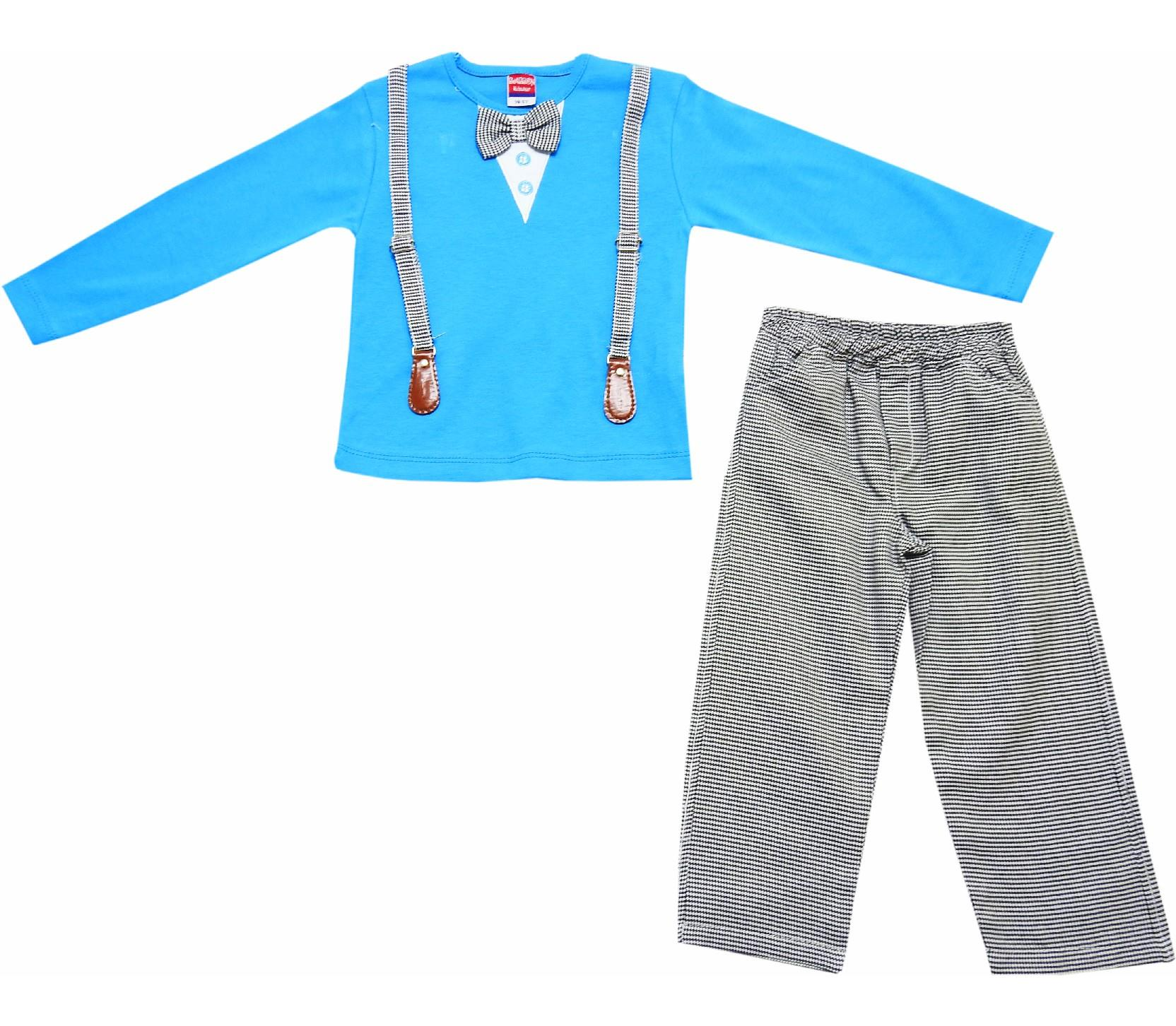 Wholesale decorative suspended long sleeve t-shirt and pant for boy (1-2-3 age)