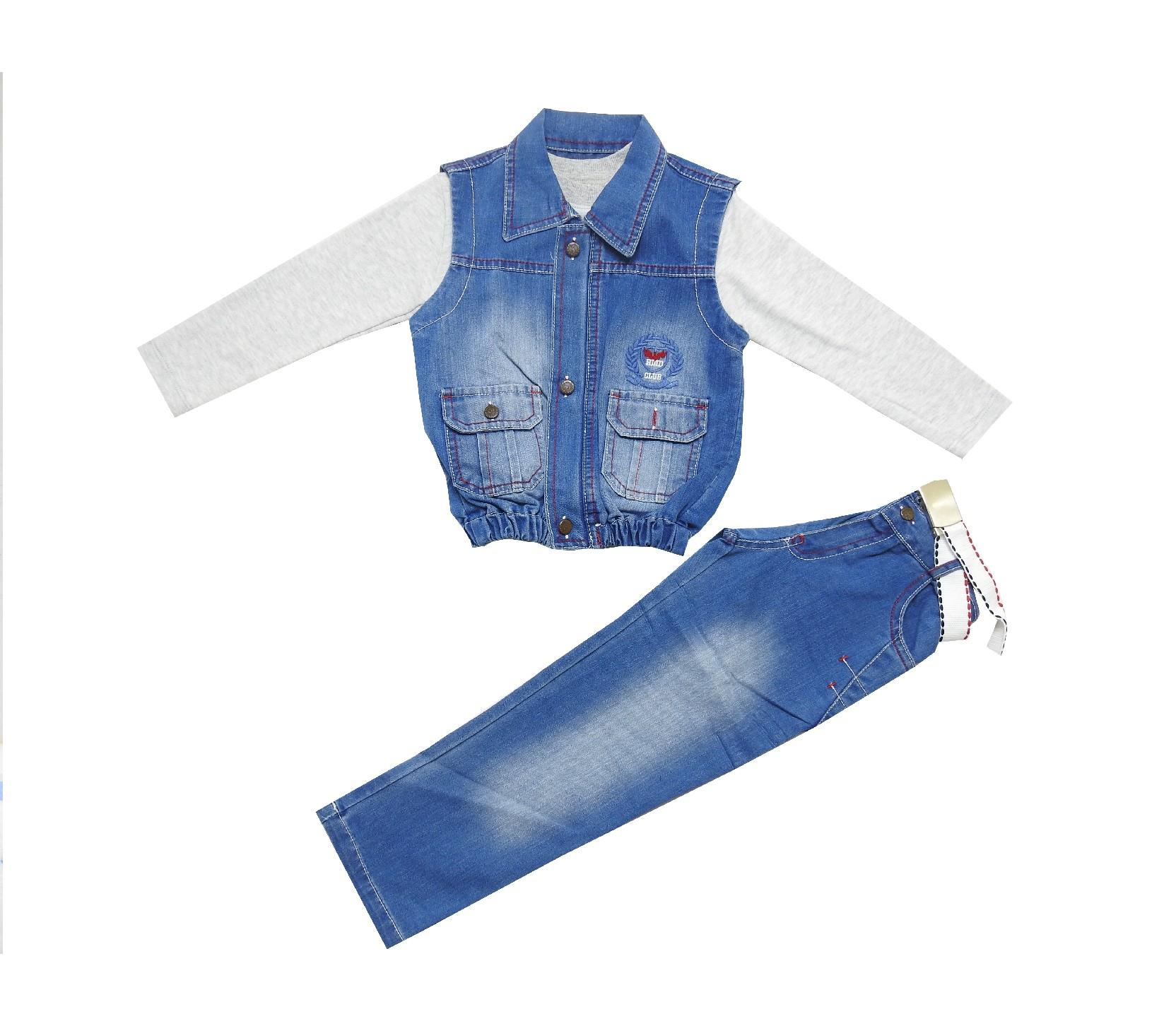 Wholesale jeans vest, pant and long sleeve t-shirt for baby boy (1-2-3 age)