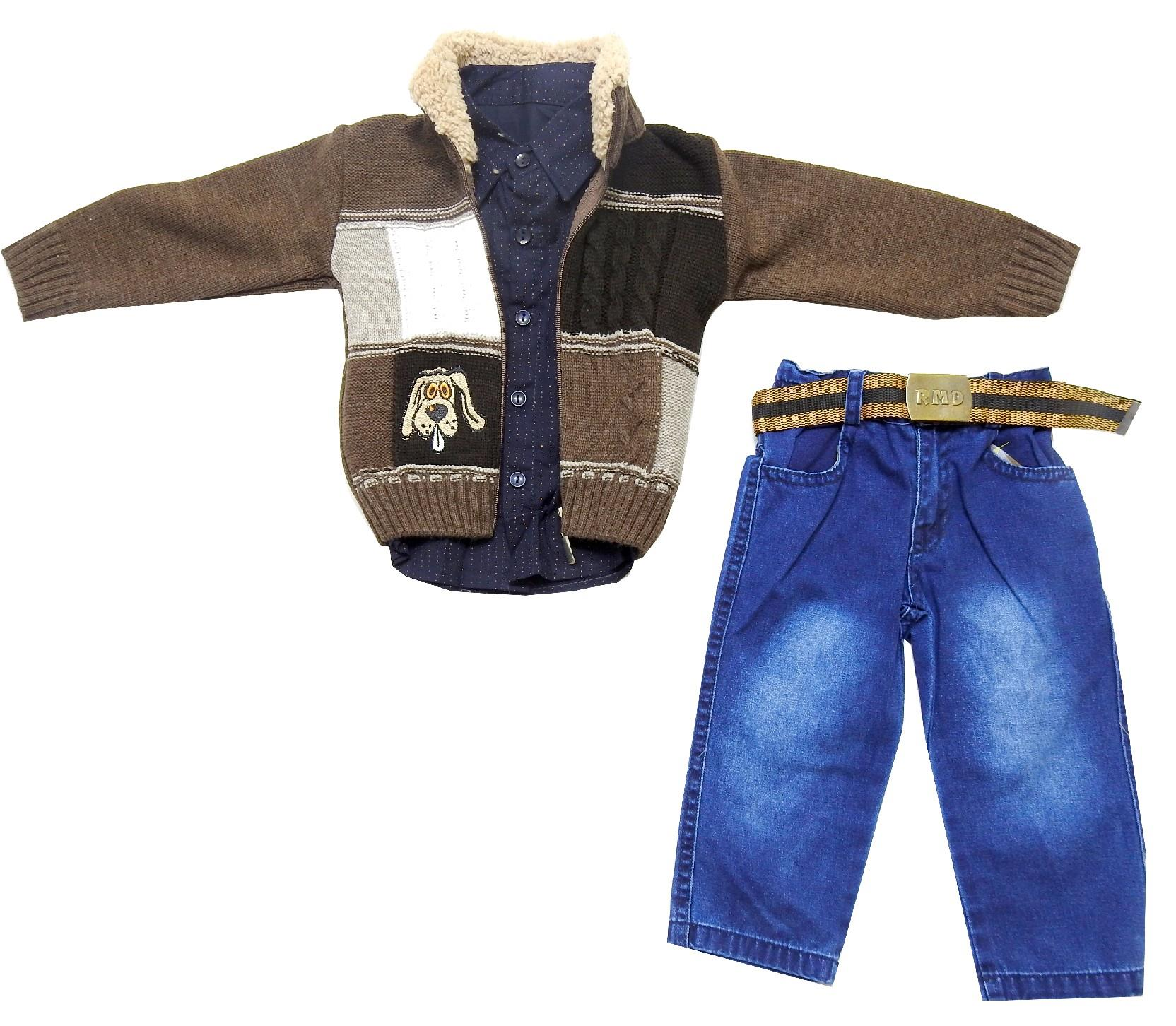Wholesale seat cardigan, long sleeve t-shirt and jeans pant for baby boy (1-2-3 age)
