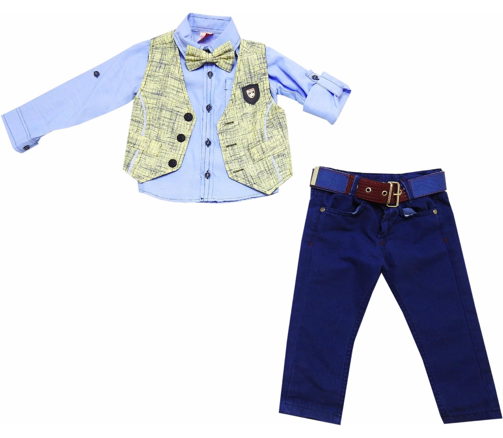 Wholesale striped design vest, shirt and pant triple set for boy (1-2-3-4 age)