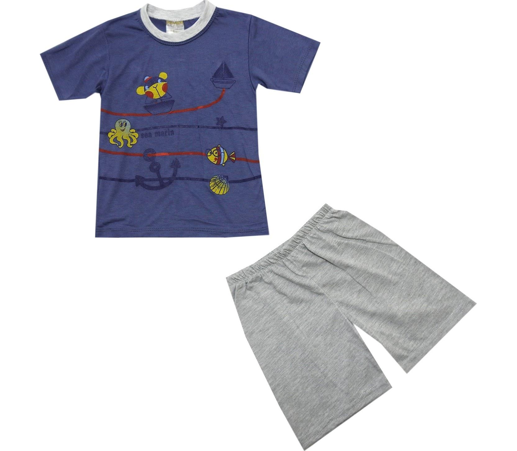 ASSORTED PRINTED DESIGN T-SHIRT & CAPRI DOUBLE SET FOR BOY AND GIRL (1-2-3 AGE)