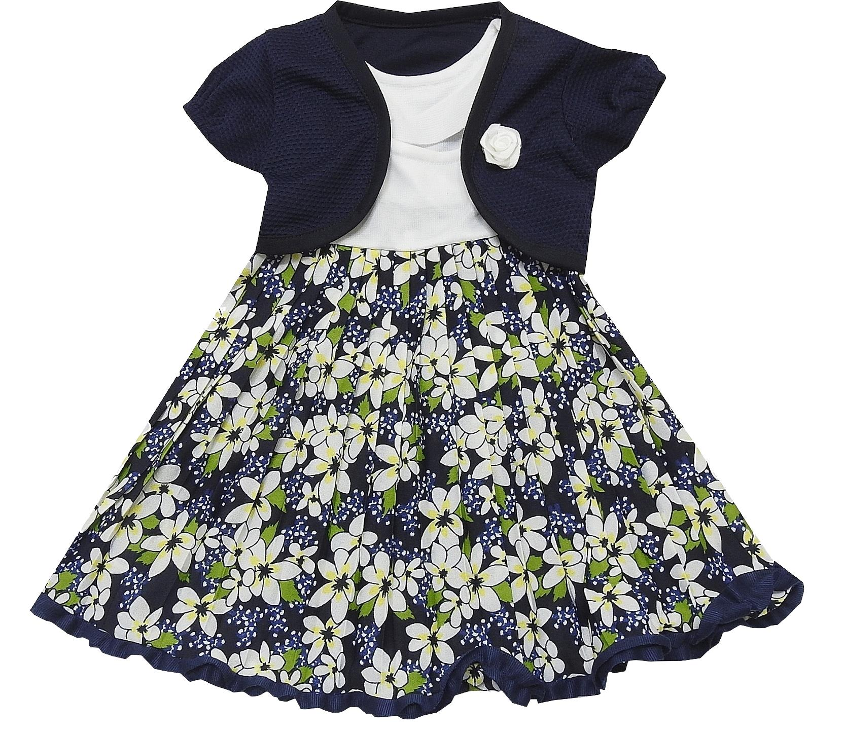 FLOWERY SPOTTY EMBROIDERY ASSORTED DRESSES (1-2-3 AGE)