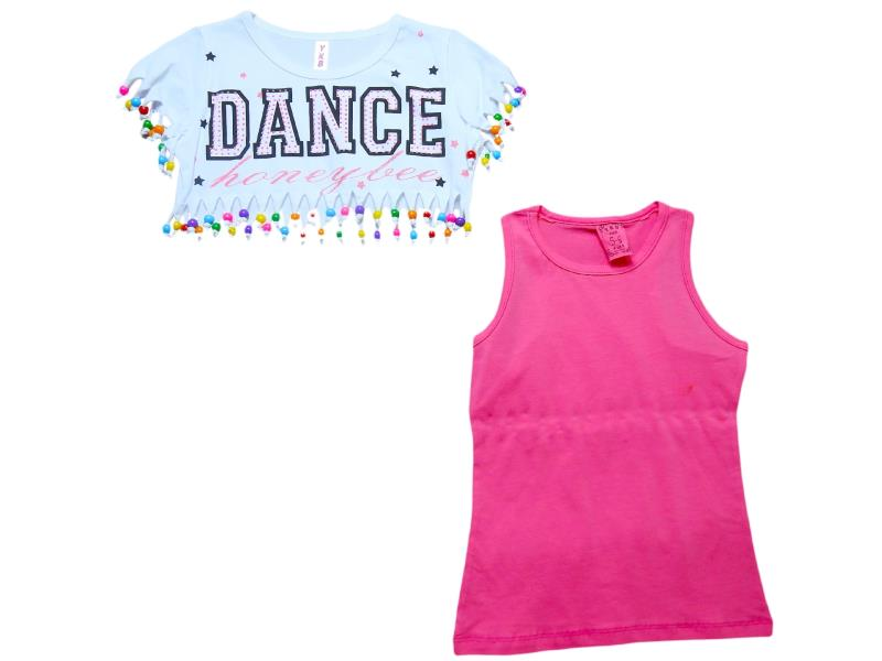 1006 Wholesale dance printed tunic with gilet for girls kids clothes (6-8-10-12 age)