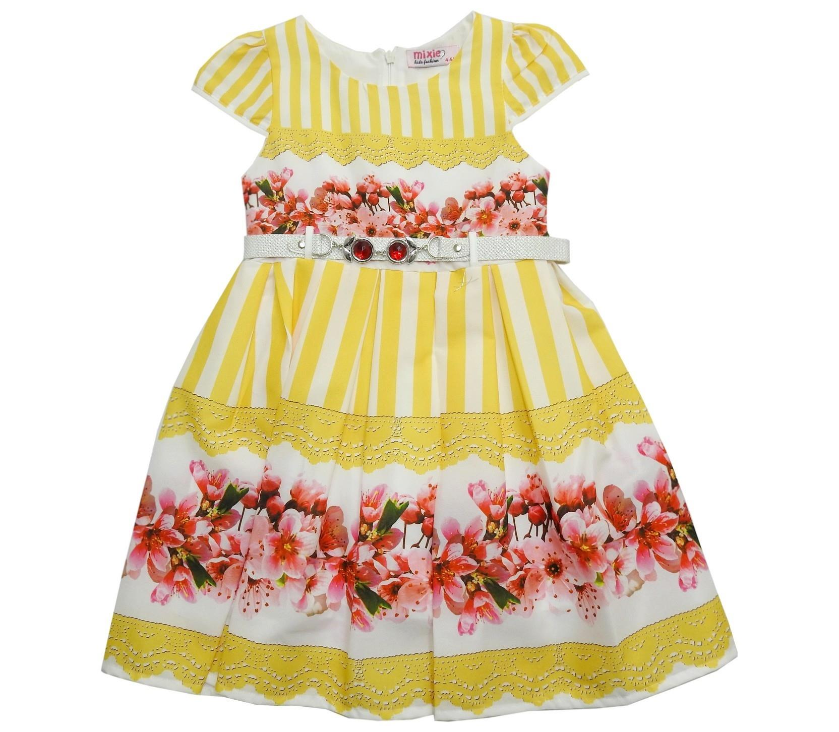 552 FLORAL STRIPED DRESS FOR GIRL ( 5-6-7-8-9-10 AGE )