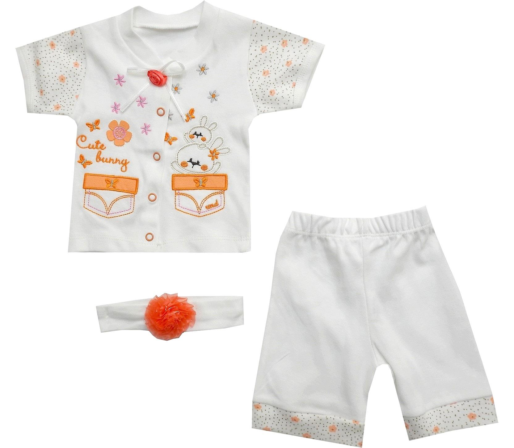 BUNNY PRINTED DESIGN HAIR BAND, T-SHIRT AND SHORT TRIPLE SET FOR GIRL (6-9-12-18 MONTH)