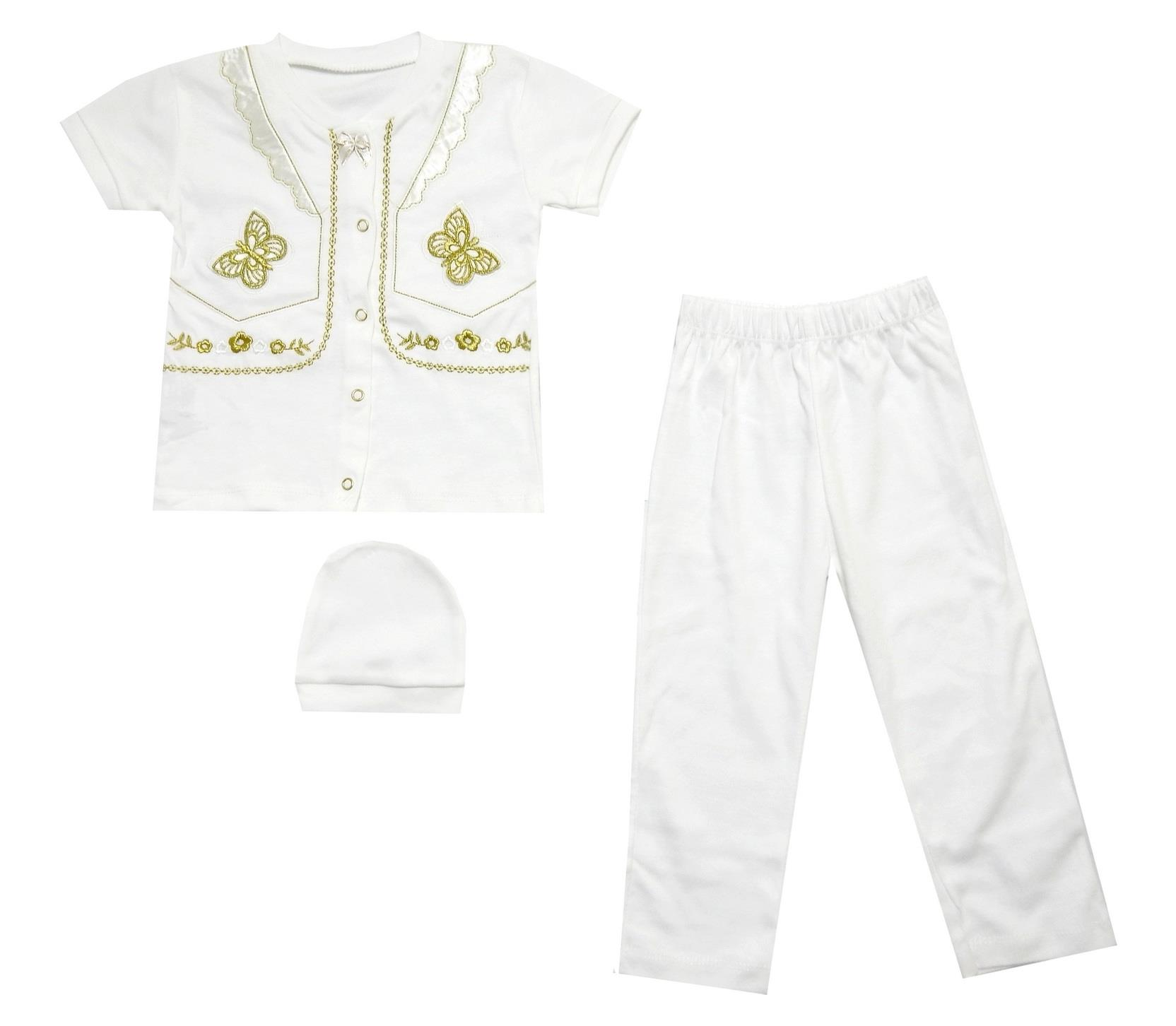 BUTTERFLY PRINTED DESIGN T-SHIRT, BEANIE AND TROUSER TRIPLE SET FOR GIRL (6-9-12-18 MONTH)