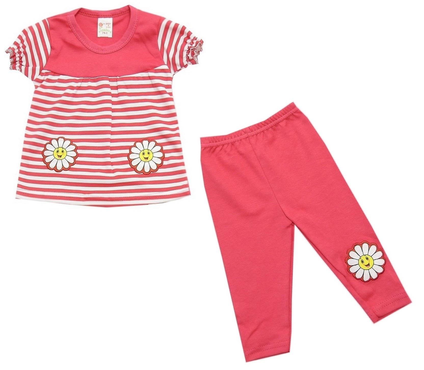 WHOLESALE FLOWER PRINTED STRIPED DESIGN BLOUSE AND TIGHT DOUBLE SET FOR GIRL (1-2-3 AGE)
