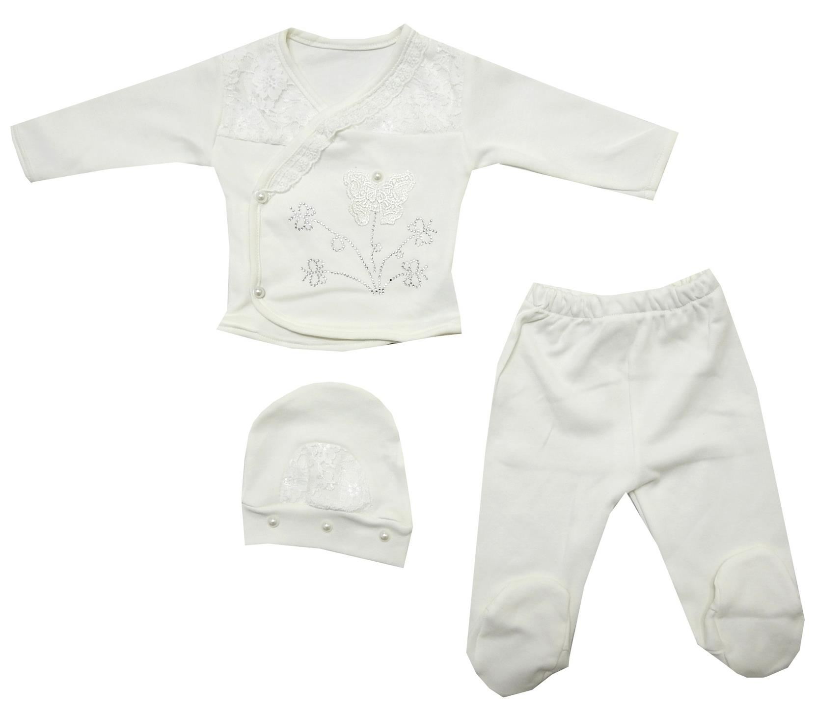 WHOLESALE FLOWER EMBROIDERY SIDE SNAP T-SHIRT, TROUSER AND BEANIE FOR GIRL (0-3-6 MONTH)