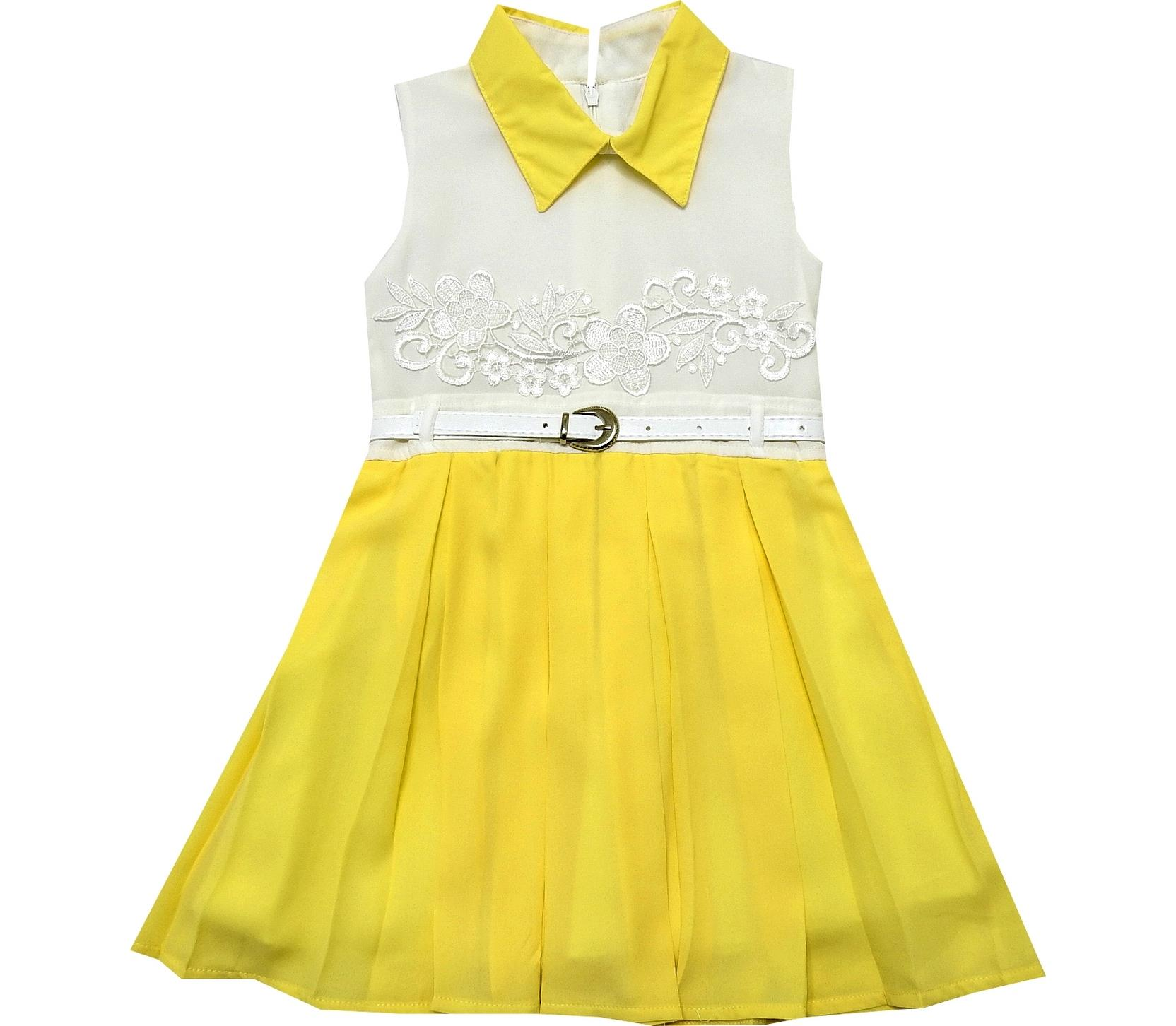 FLOWERY EMBROIDERY PLATED DRESS FOR GIRL (2-3-4-5 AGE)