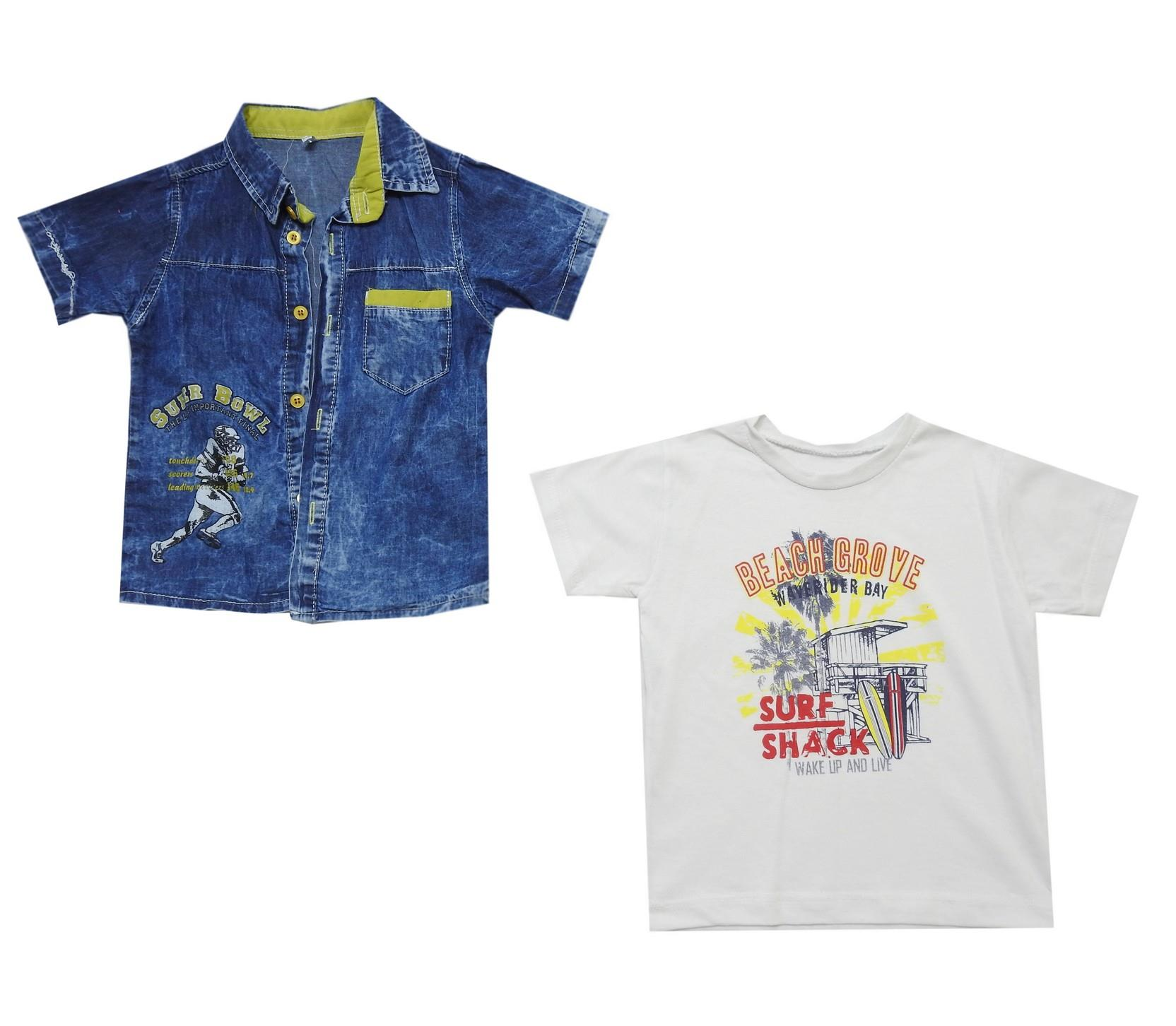 PRINTED DESIGN JEANS JACKET AND T-SHIRT DOUBLE SET FOR BOY (1-2-3-4 AGE)