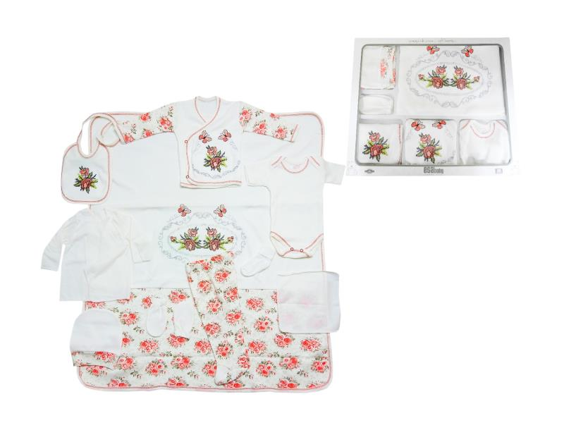 822 Wholesale flowery patterned newborn set for girl baby clothes 10 pieces in package