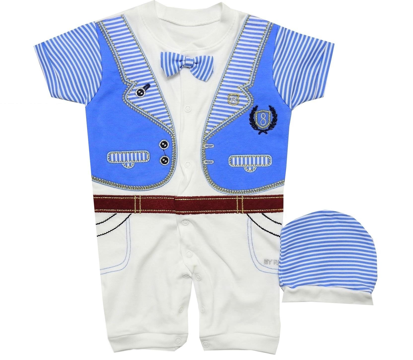 724 BODYSUIT WITH BEANIE FOR BOY ( 6-9-12-18 MONTH )