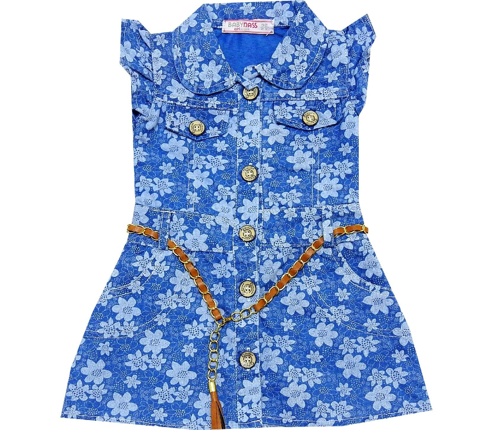 FLOWERY EMBROIDERY JEANS WAIST FOR GIRL (2-3-4-5 AGE)