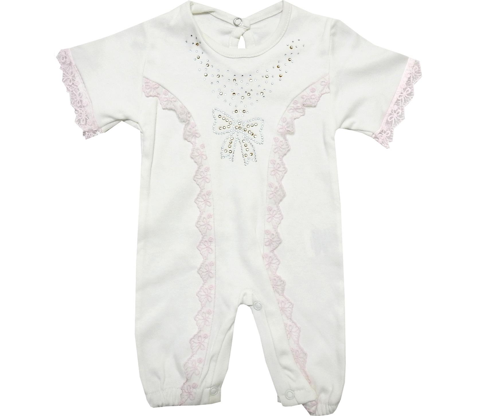 WHOLESALE LACE AND DECORATIVE CRYSTAL ROCK EMBROIDERY BODYSUIT FOR GIRL (0-3-6 MONTH)
