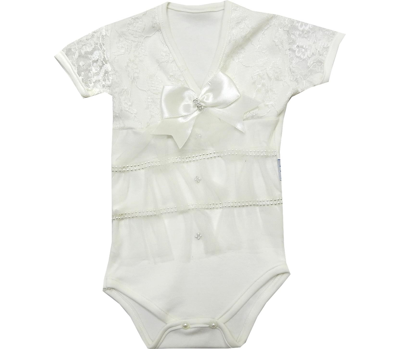 WHOLESALE DECORATIVE RIBBON LACE FABRIC DESIGN BODYSUIT FOR GIRL (0-3-6 MONTH)