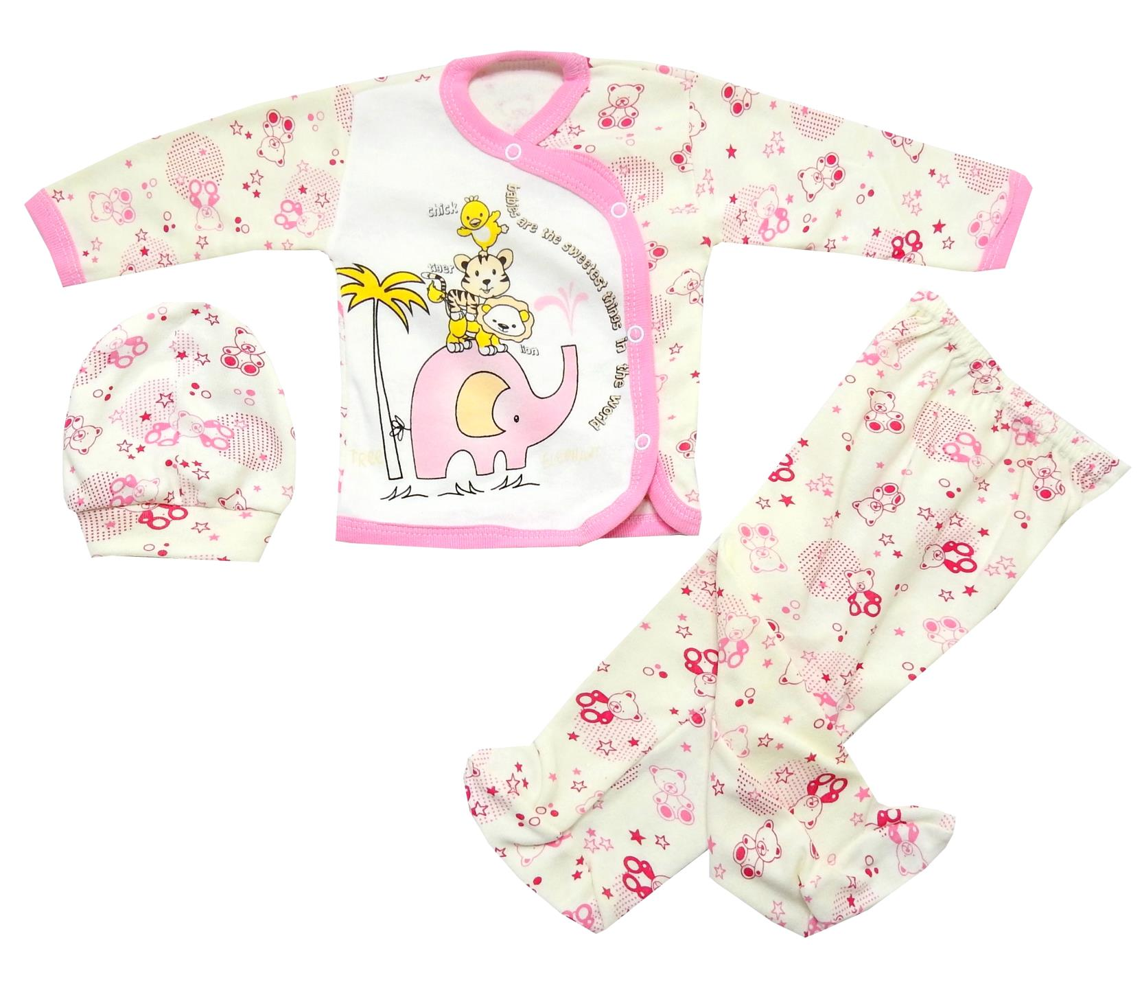 Wholesale elephant print new born triple set for baby boy (3-6 month)