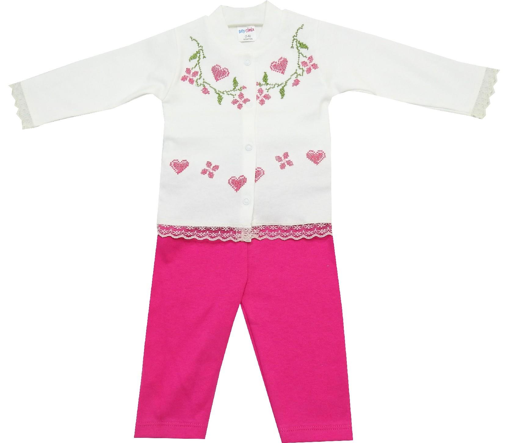 WHOLESALE CANVAS FLOWERY EMBROIDERY T-SHIRT AND TROUSER DOUBLE SET FOR GIRL (6-9-12 MONTH)