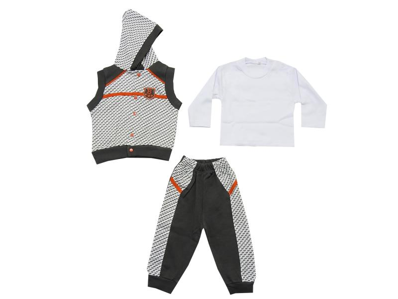 Wholesale sleevless hooded vest, long sleeve t-shirt and trouser triple set for boy (62-74 cm)