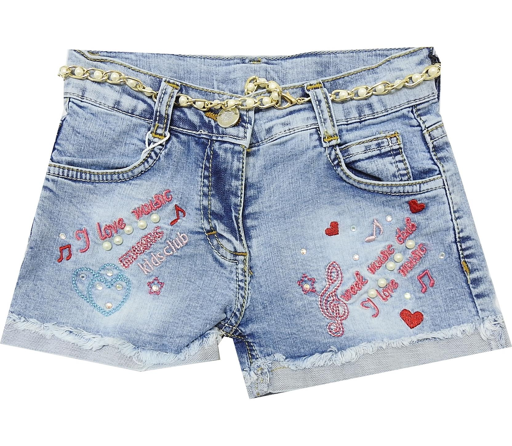 Melody motif printed denim short for girl (2-3-4-5-6 age)