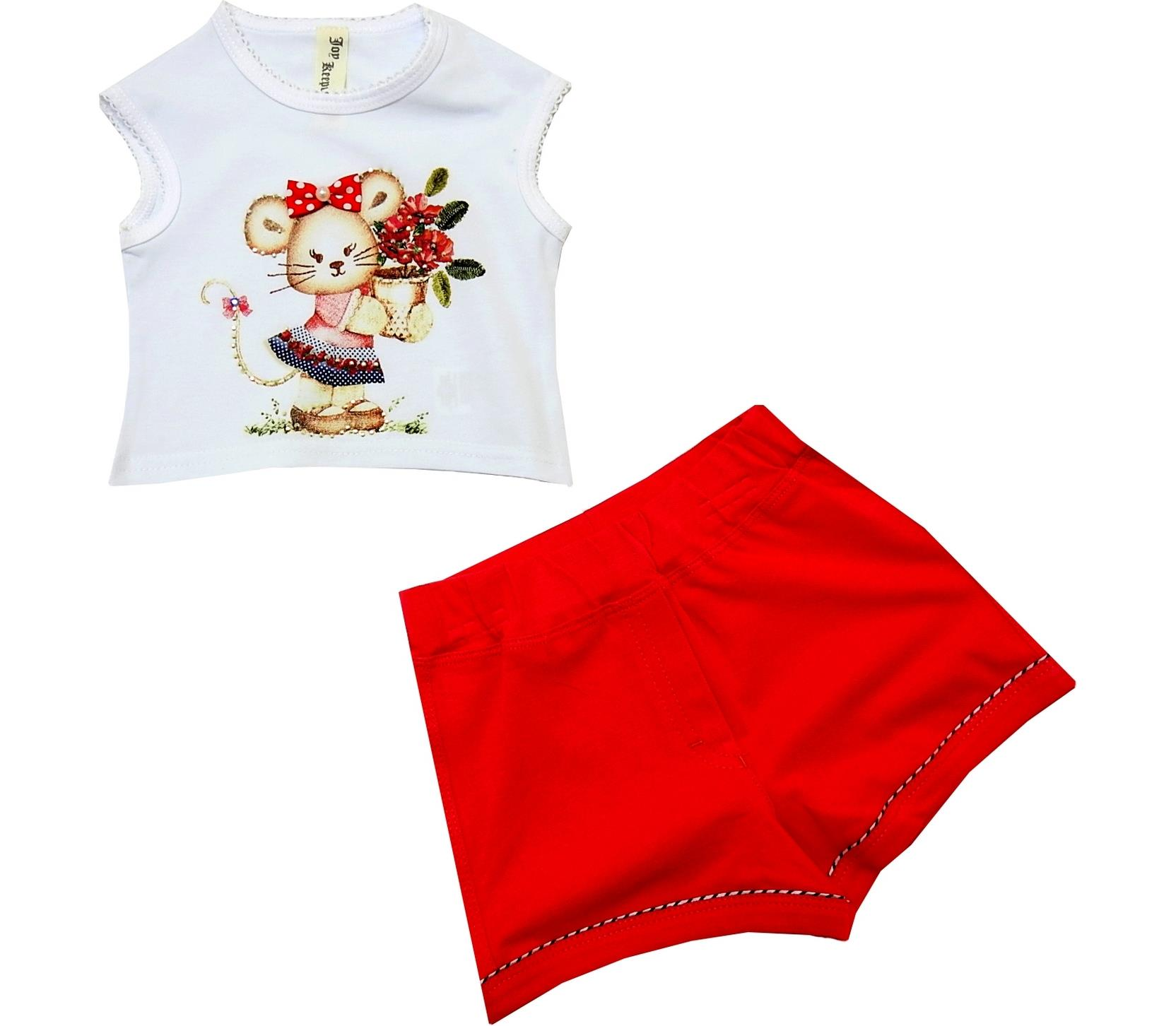 MOUSE PRINTED DESIGN DOUBLE SET FOR GIRL (2-3-4-5 AGE)