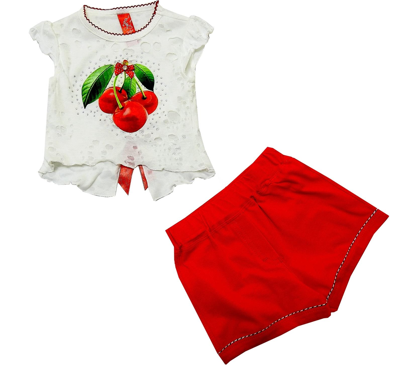 WHOLESALE CHERRY PRINT BLOUSE AND SHORT DOUBLE SET FOR GIRL (1-2-3-4 AGE)