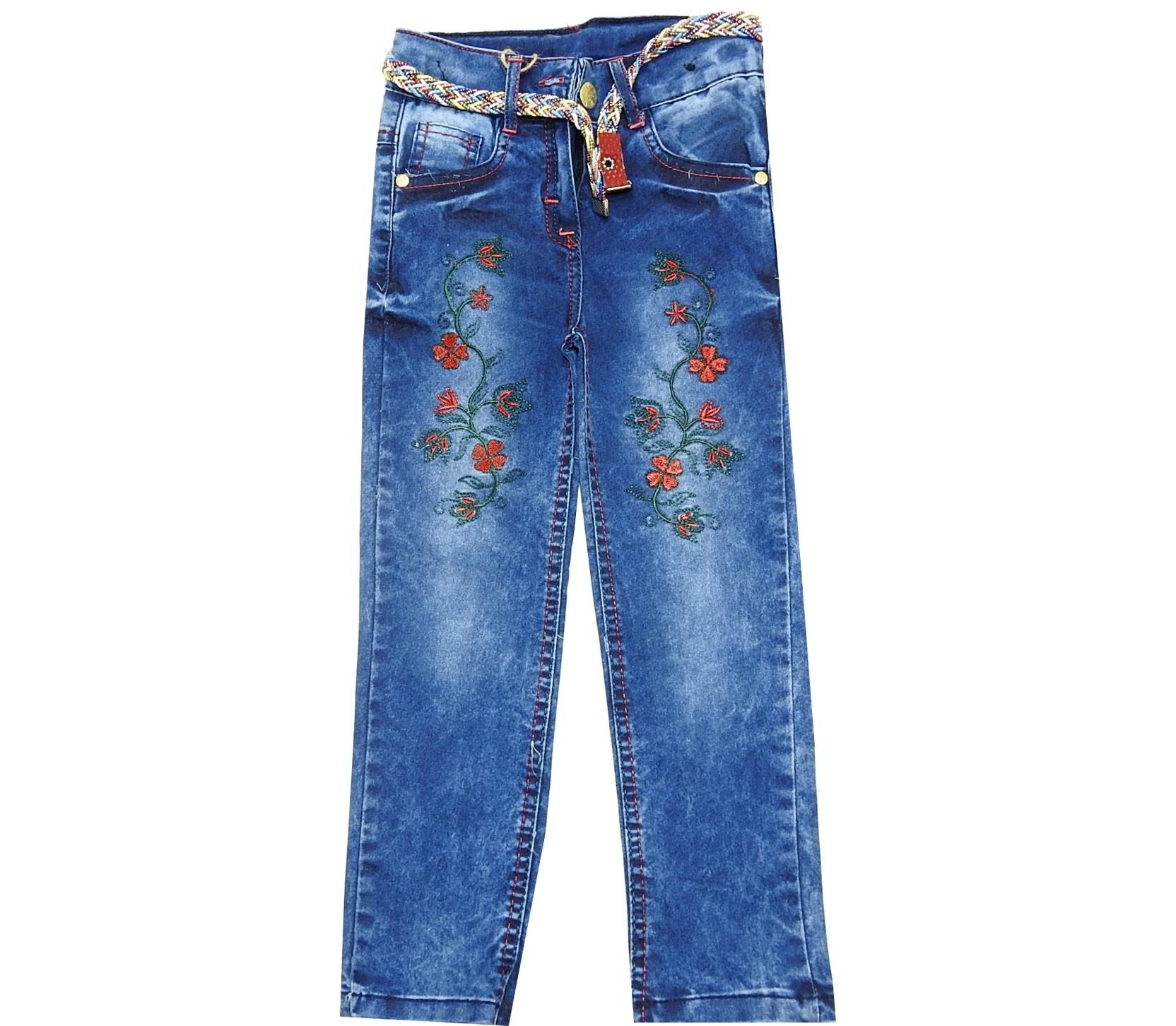 FLOWERY AND CRYSTALL ROCK EMBROIDERY DEIGNED JEANS FOR GIRL (3-4-5-6-7-8)