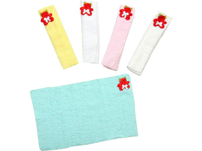 424 Wholesale bear applique baby saliva towel 5 pieces in package