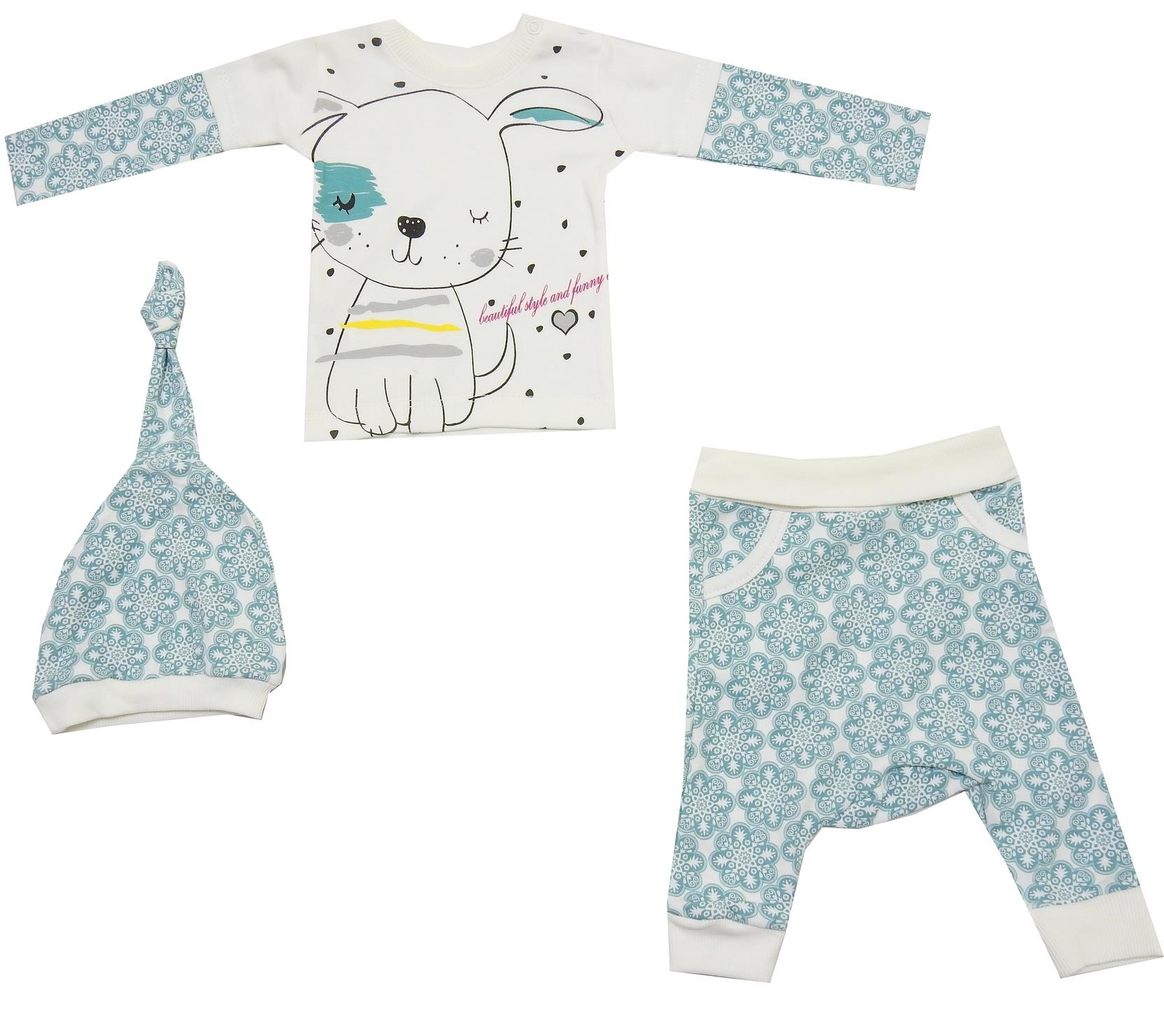 DOGGY PRINTED DESIGN TRIPLE SET FOR GIRL (6-9-12 MONTH)