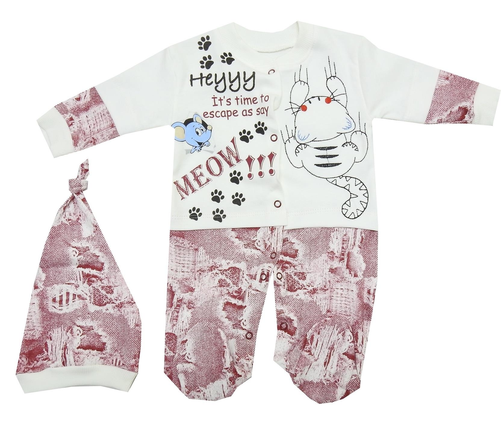 CAT & MOUSE PRINTED DESIGN TRIPLE SET FOR BOY (3-6-9 MONTH)
