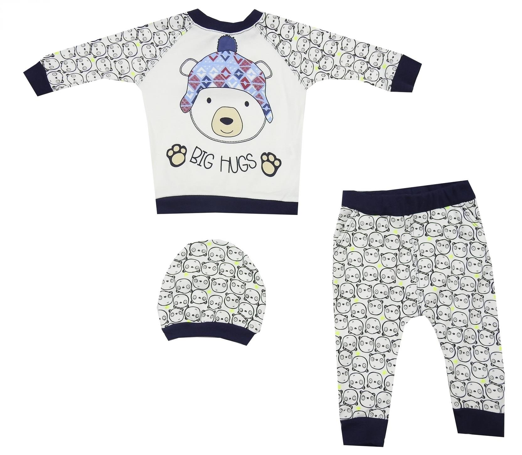 BEAR PRINTED DESIGN TRIPLE SET FOR BOY (6-9-12 MONTH)