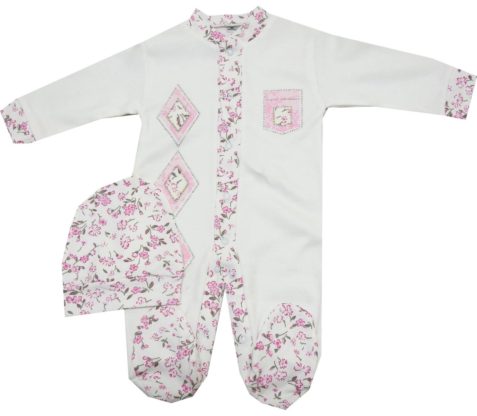 FLOWERY EMBROIDERED ROMPER WITH BEANIE FOR GIRL (1-2-3 AGE)