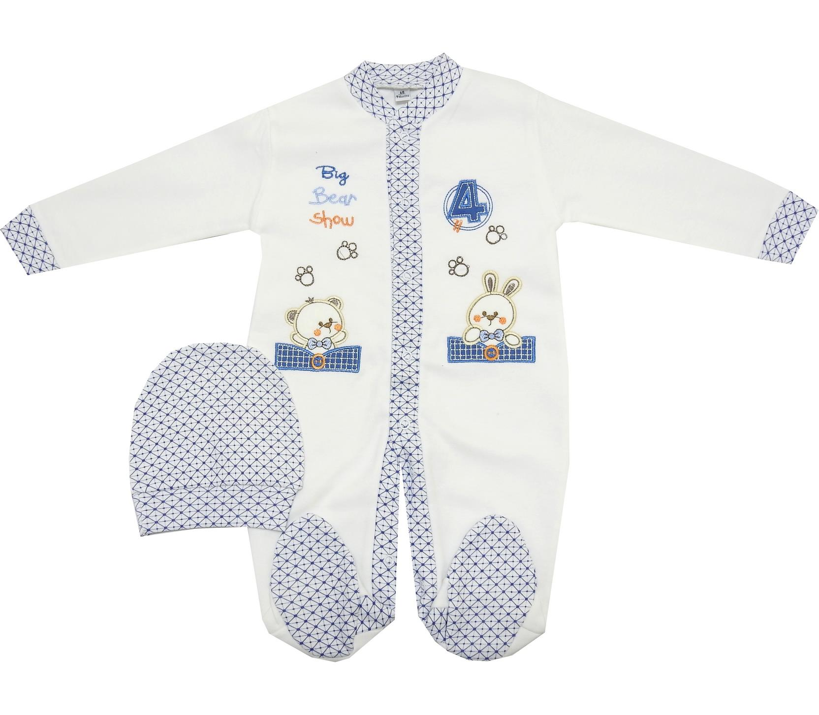 BUNNY AND BEAR PRINTED ROMPER FOR BOY (0-3-6 MONTH)