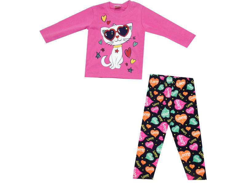 CAT PRINTED DOUBLE SET FOR GIRL ( 1-2-3 AGE )