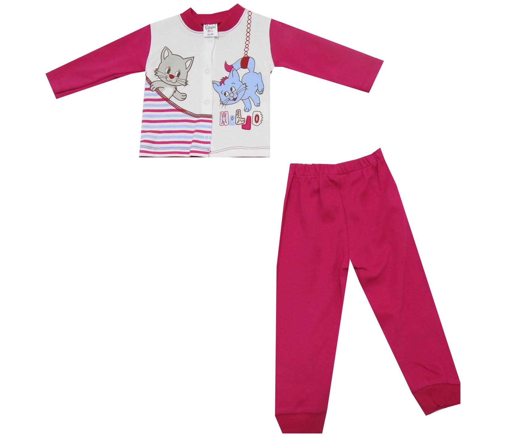 CAT PRINTED DOUBLE SET FOR GIRL ( 6-9-12 MONTH )