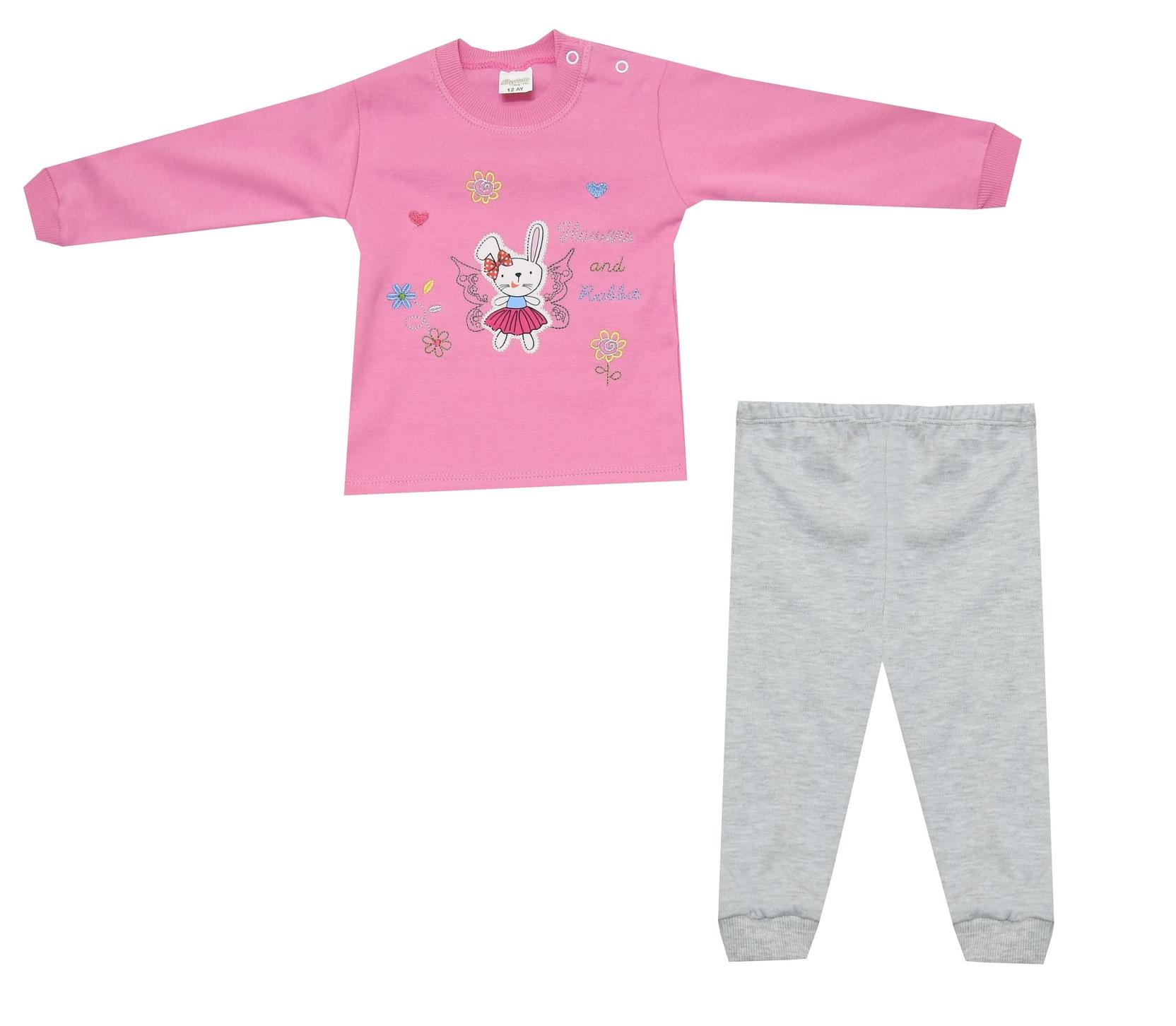 RABBIT AND FLOWER PRINTED DOUBLE SET FOR GIRL (6-9-12 MONTH)
