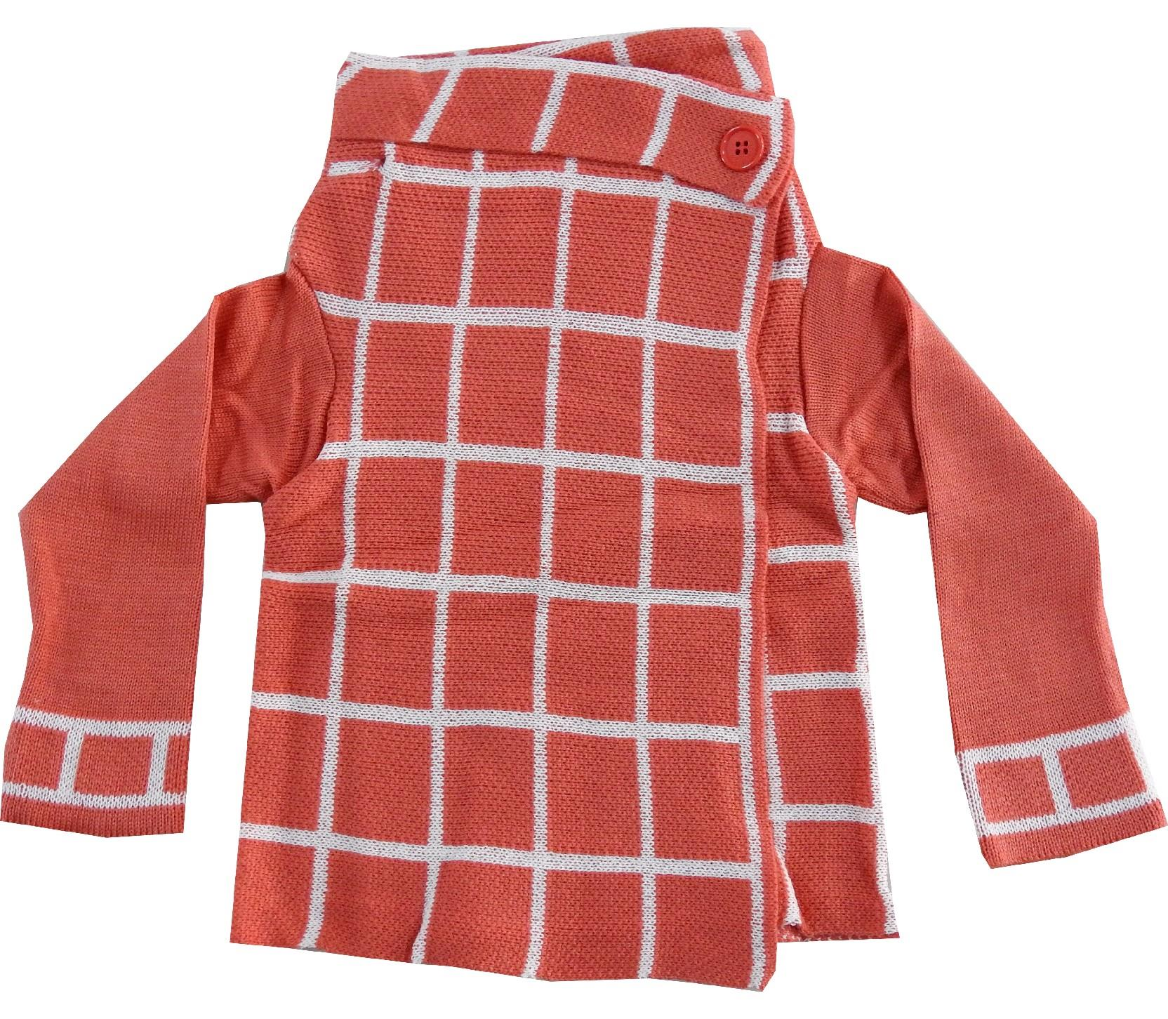 WHOLESALE CHECK DESIGN TURTLENECK CARDIGAN FOR GIRL (3-5-7 AGE)