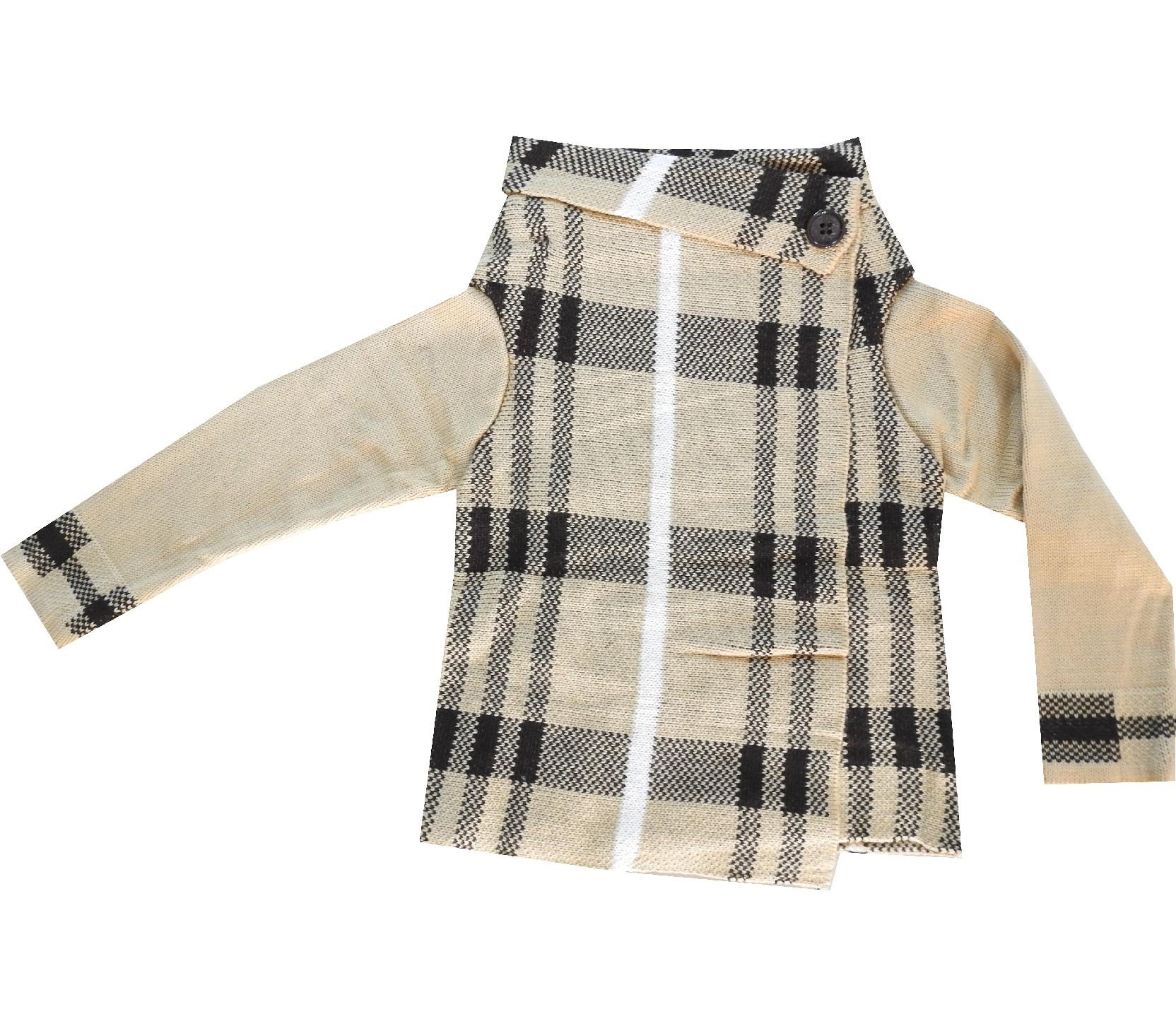 CHECK FABRIC CARDIGAN FOR GIRL (3-5-7 AGE)