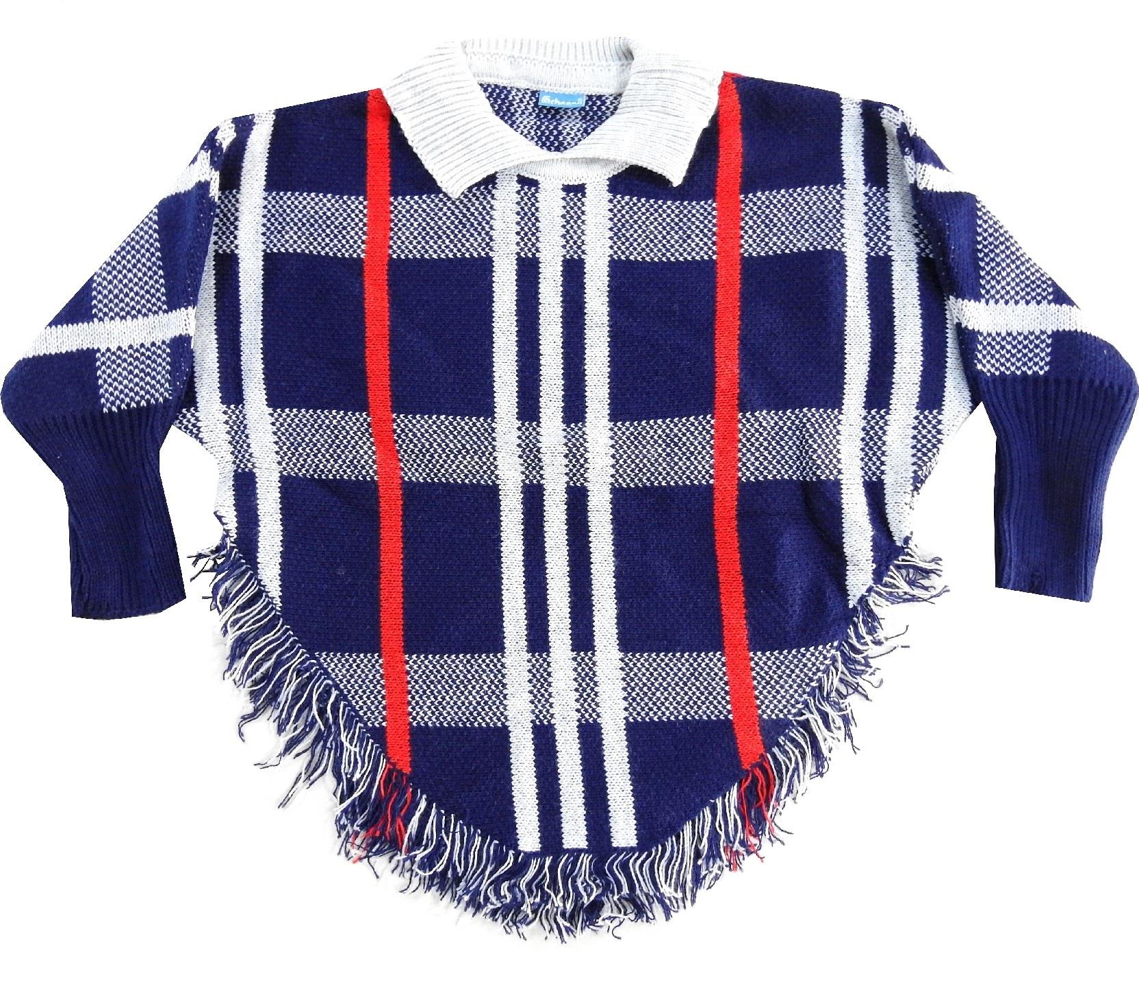WHOLESALE FRINGED AND CLASSIC COLLAR CHECK DESIGN PONCHO FOR GIRL (8-10-12 AGE)