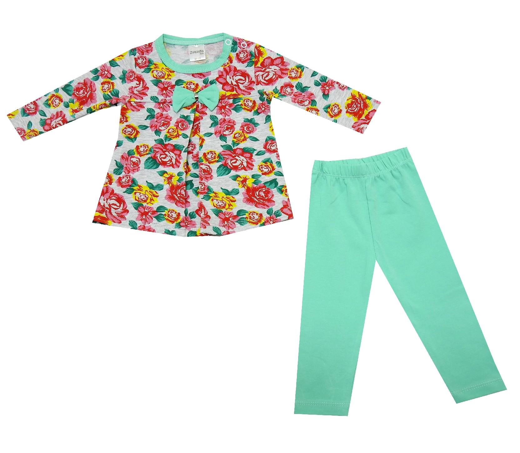 FLOWER PRINTED DOUBLE SET FOR GIRL (6-9-12 MONTH)