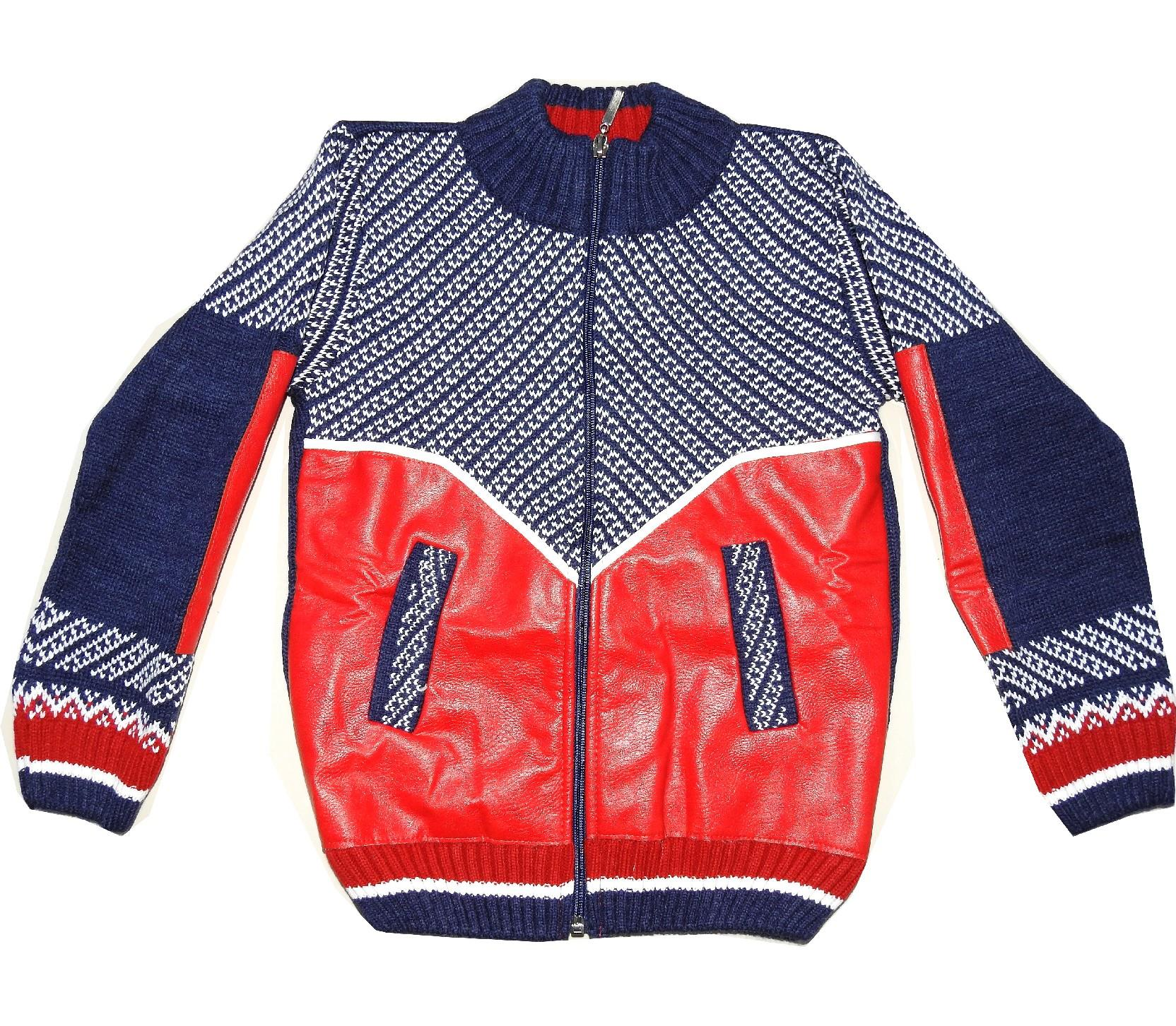 QUILTING LEATHERED SWEATER FOR BOY (5-7-9 AGE)