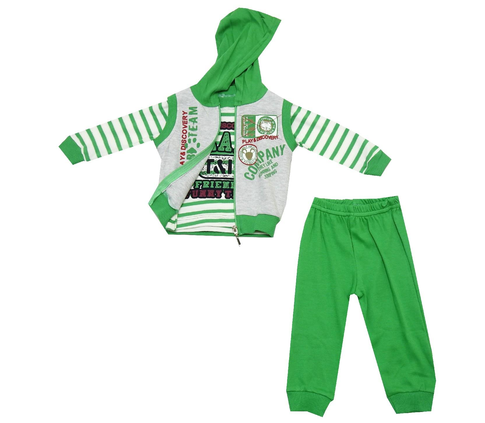 STRIPED HOODIE TRIPLE SET FOR BOY (6-9-12 MONTH)