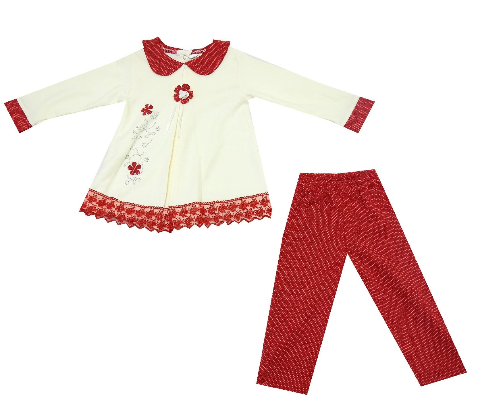 FLOWER EMBROIDERY DESIGN DOUBLE SET FOR GIRL (9-12-18 MONTH)