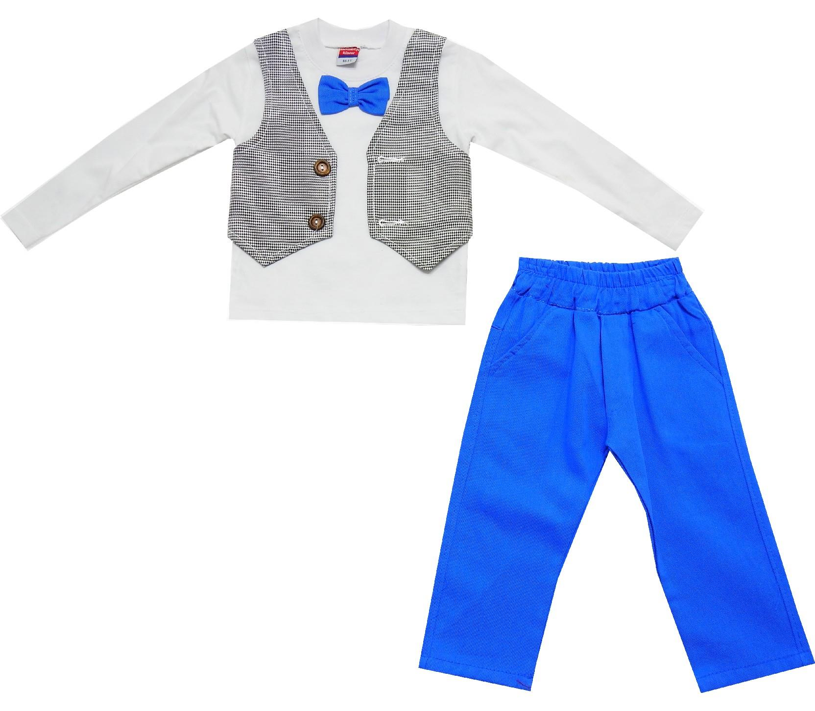 Wholesale decorative vest design sweat and trouser double set for boy (1-2-3 age)