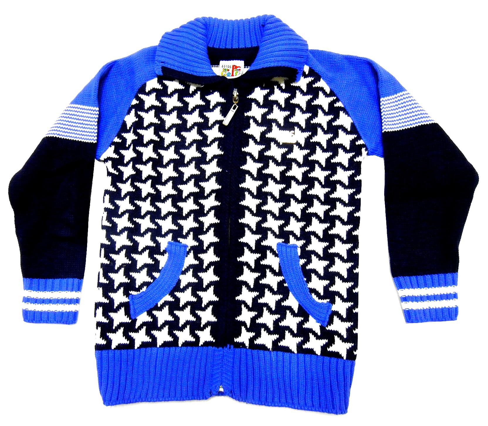 WHOLESALE STAR EMBROIDERY AND ZIP FASTENING PULLOVER FOR BOY (4-6-8 AGE)