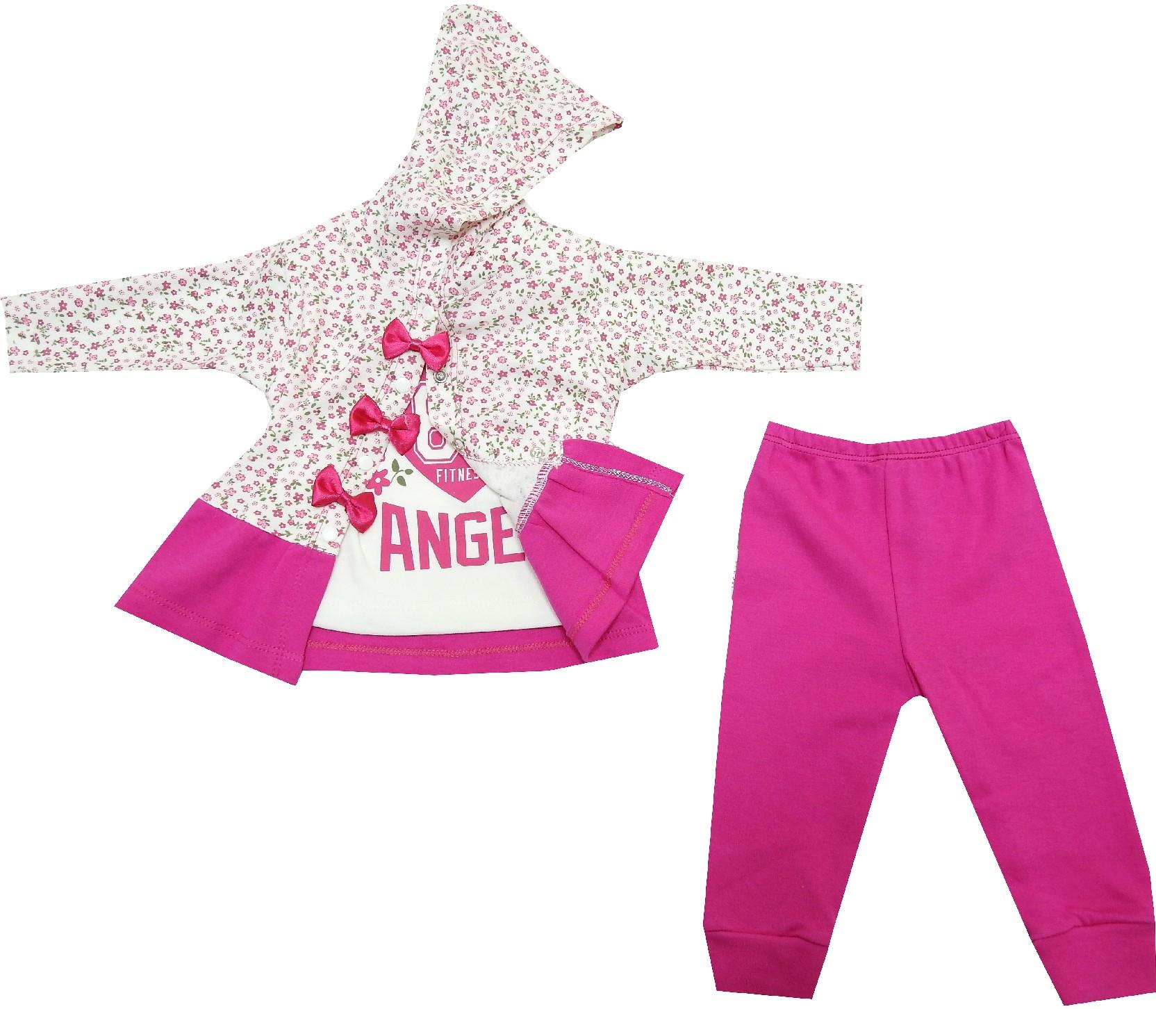 FLOWERY EMBROIDERED TRIPLE SET FOR GIRL (6-9-12 MONTH)