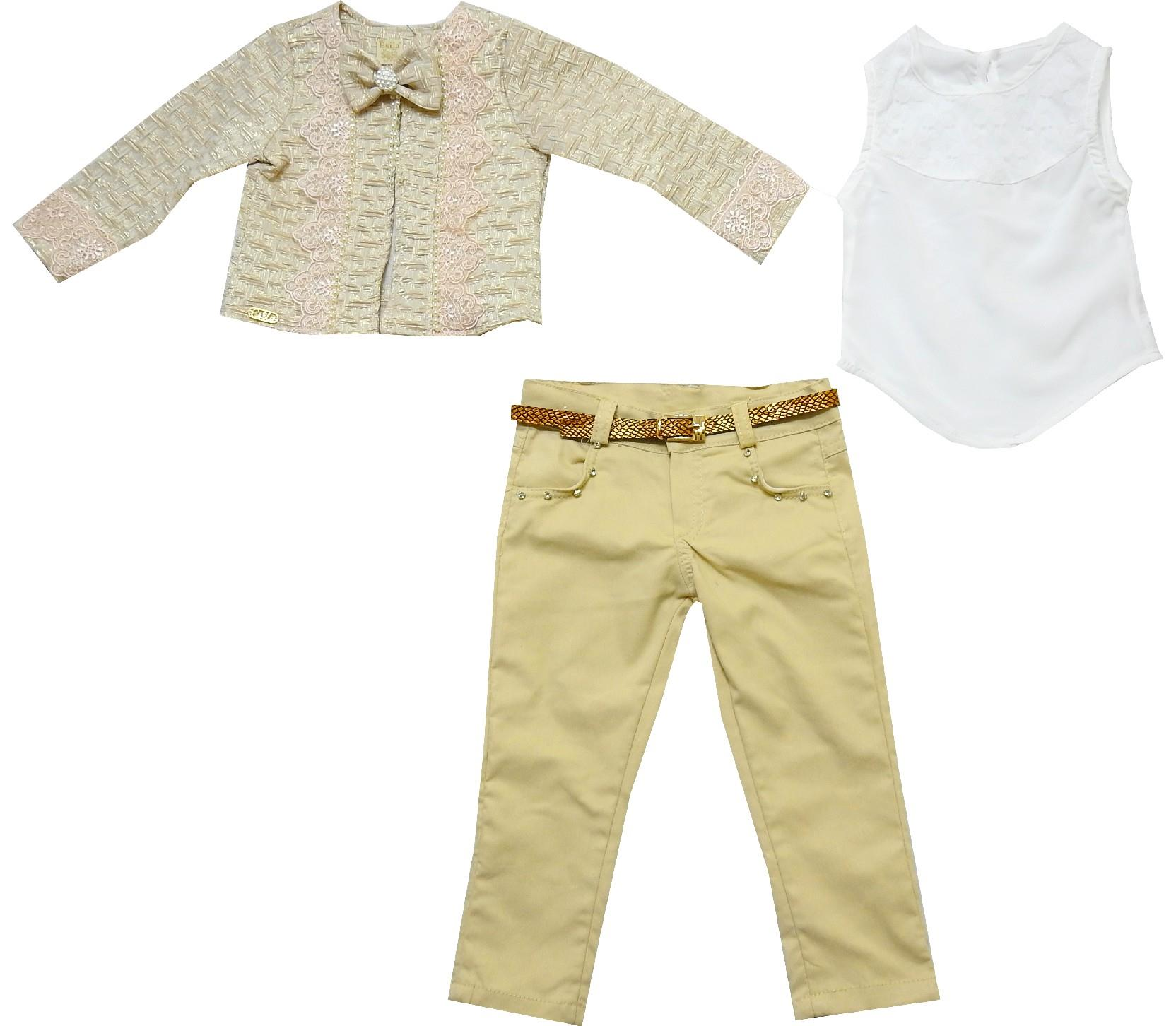 WHOLESALE LACE FABRIC EMBROIDERY JACKET, ATHLETE, PANTS TRIPLE SET FOR GIRL (2-3-4-5 AGE)