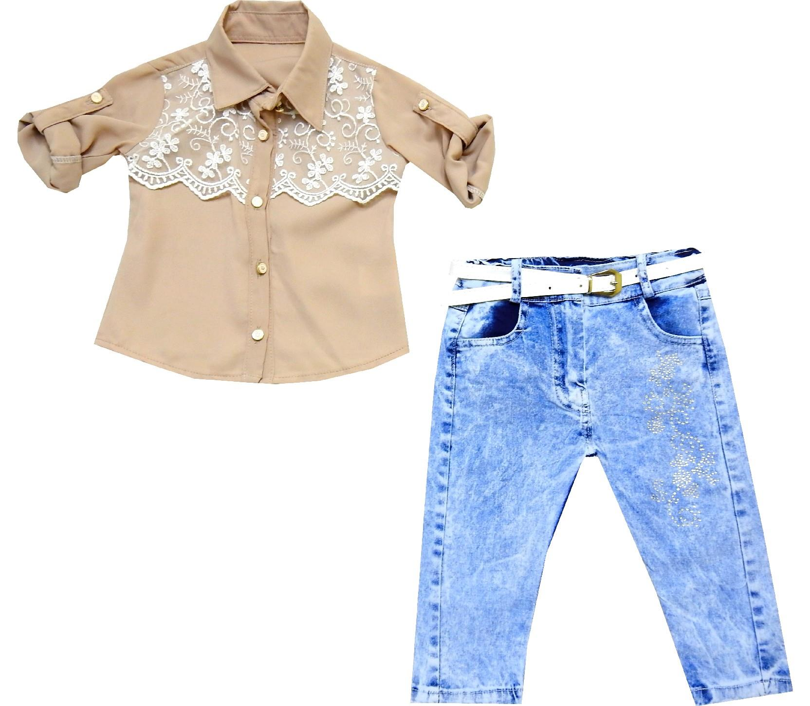 WHOLESALE LACE FABRIC EMBROIDERELY BLOUSE AND JEANS DOUBLE SET FOR GIRL (1-2-3-4 AGE)