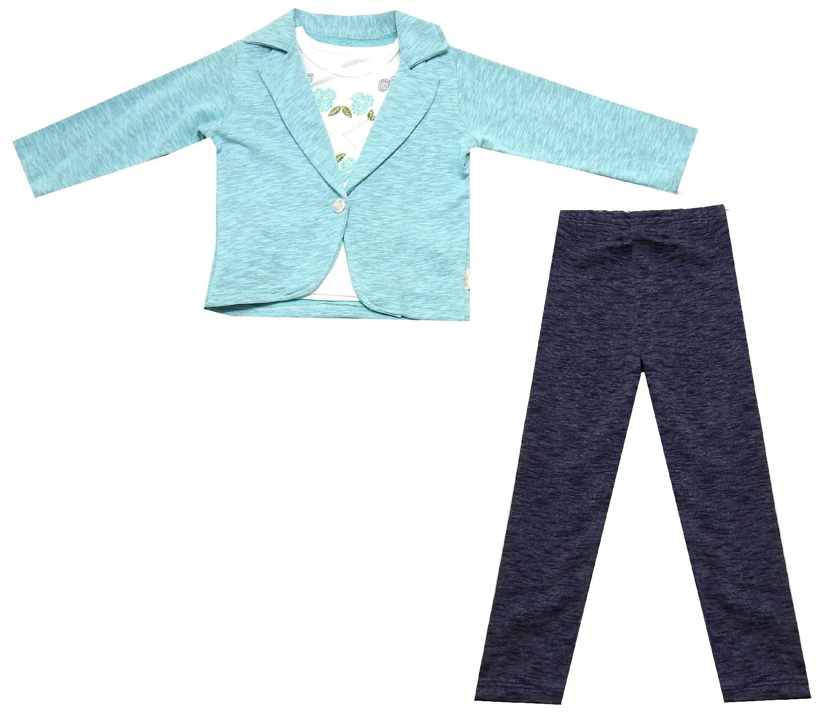 WHOLESALE JACKET, T-SHIRT AND TROUSER TRIPLE SET FOR GIRL (1-2-3-4 AGE)