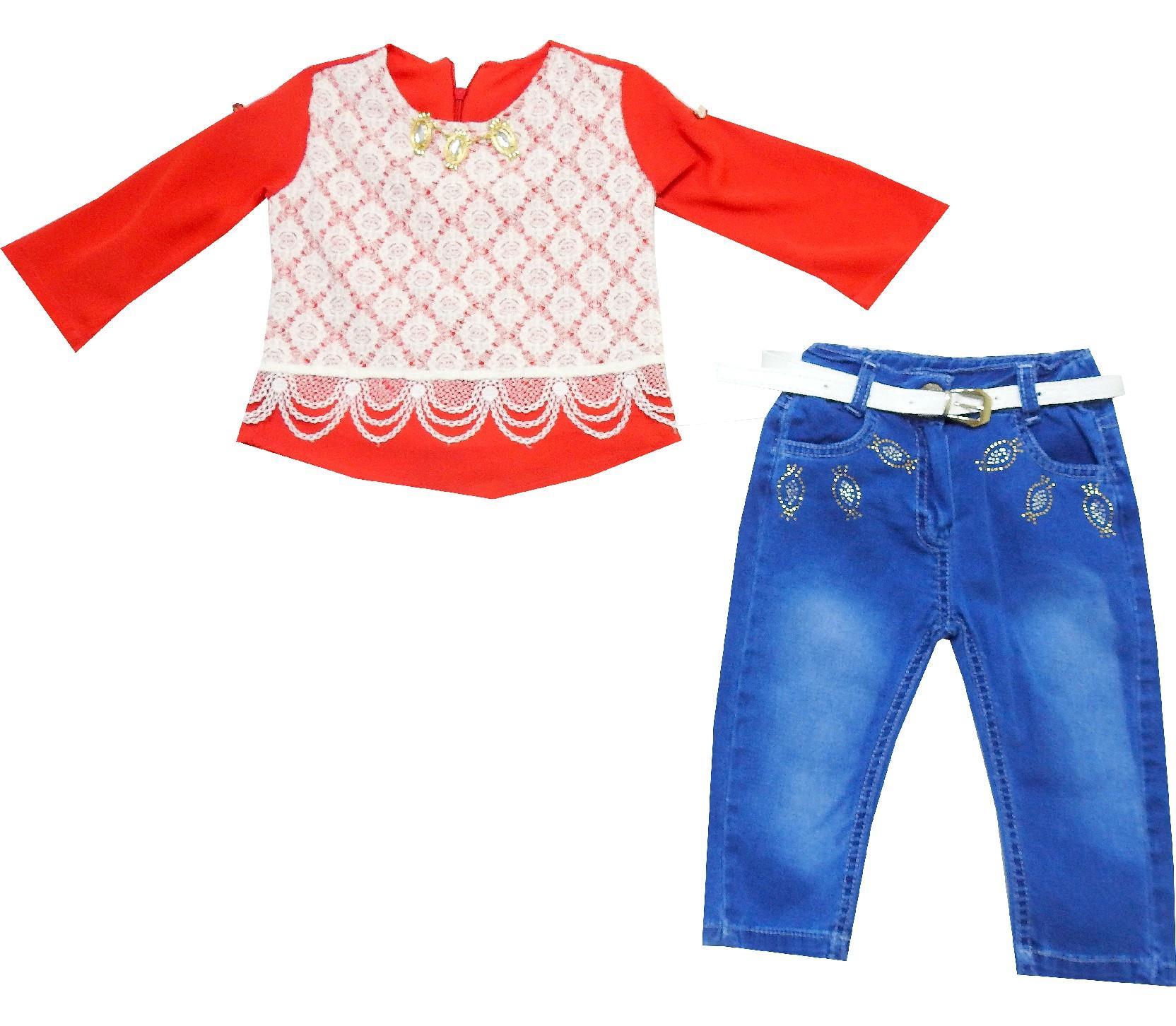 WHOLESALE LACE FABRIC EMBROIDERELY BLOUSE AND JEANS TROUSER DOUBLE SET FOR GIRL (1-2-3-4 AGE)